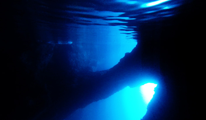 View of the the Blue grotto below sea level