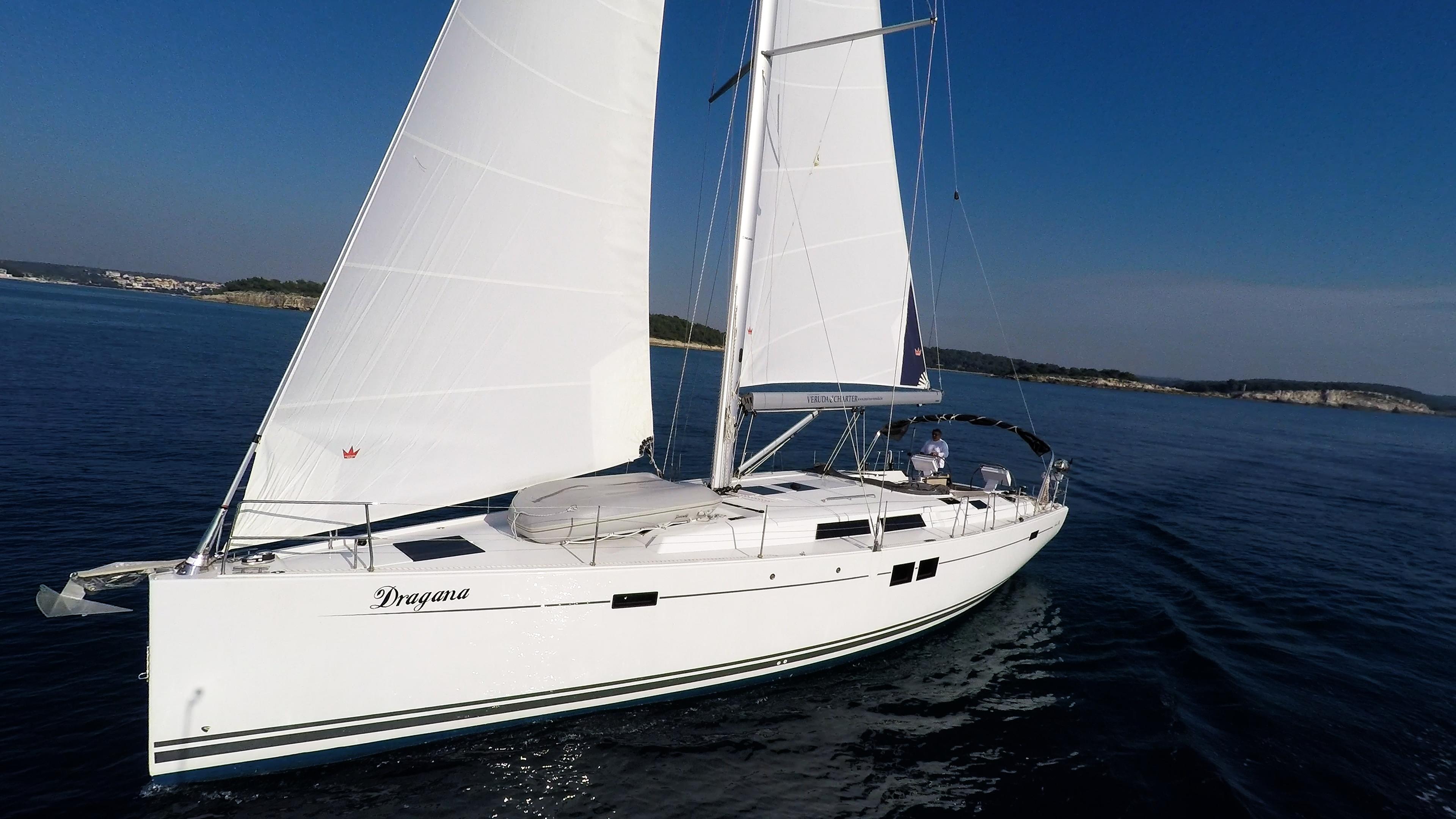 Segelyacht Bug Segelboot Hanse 505 Segeln Segel blauer Himmel Meer