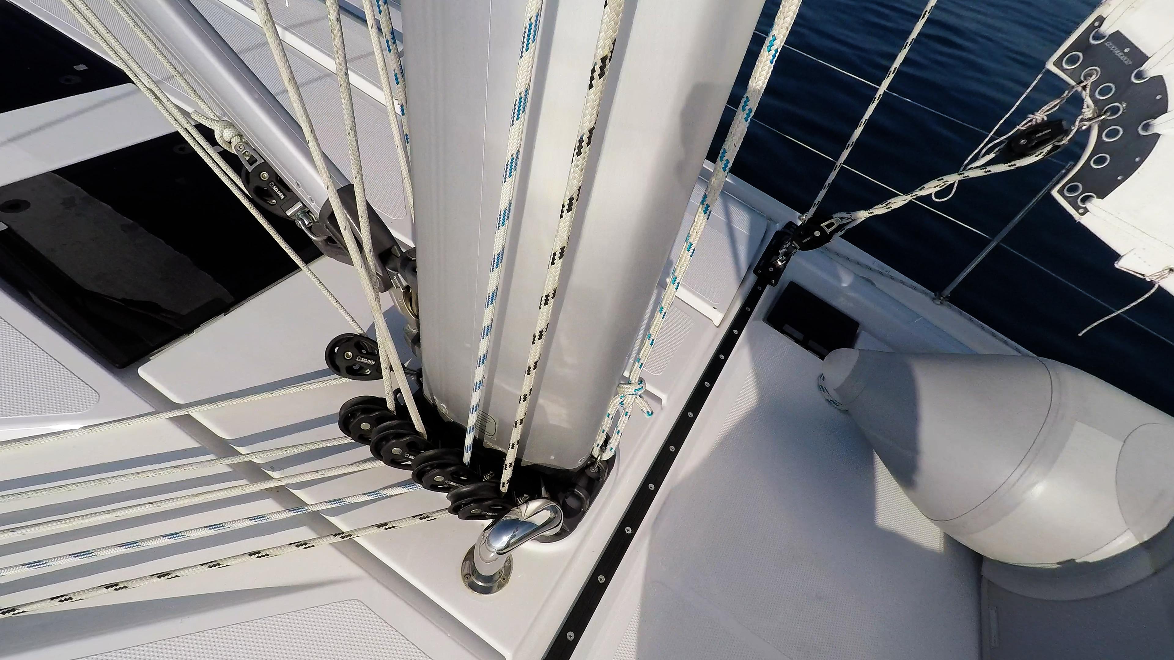 Segelyacht Deck Seile Linien Takelwerk Mast Segelboot Segeln Segel