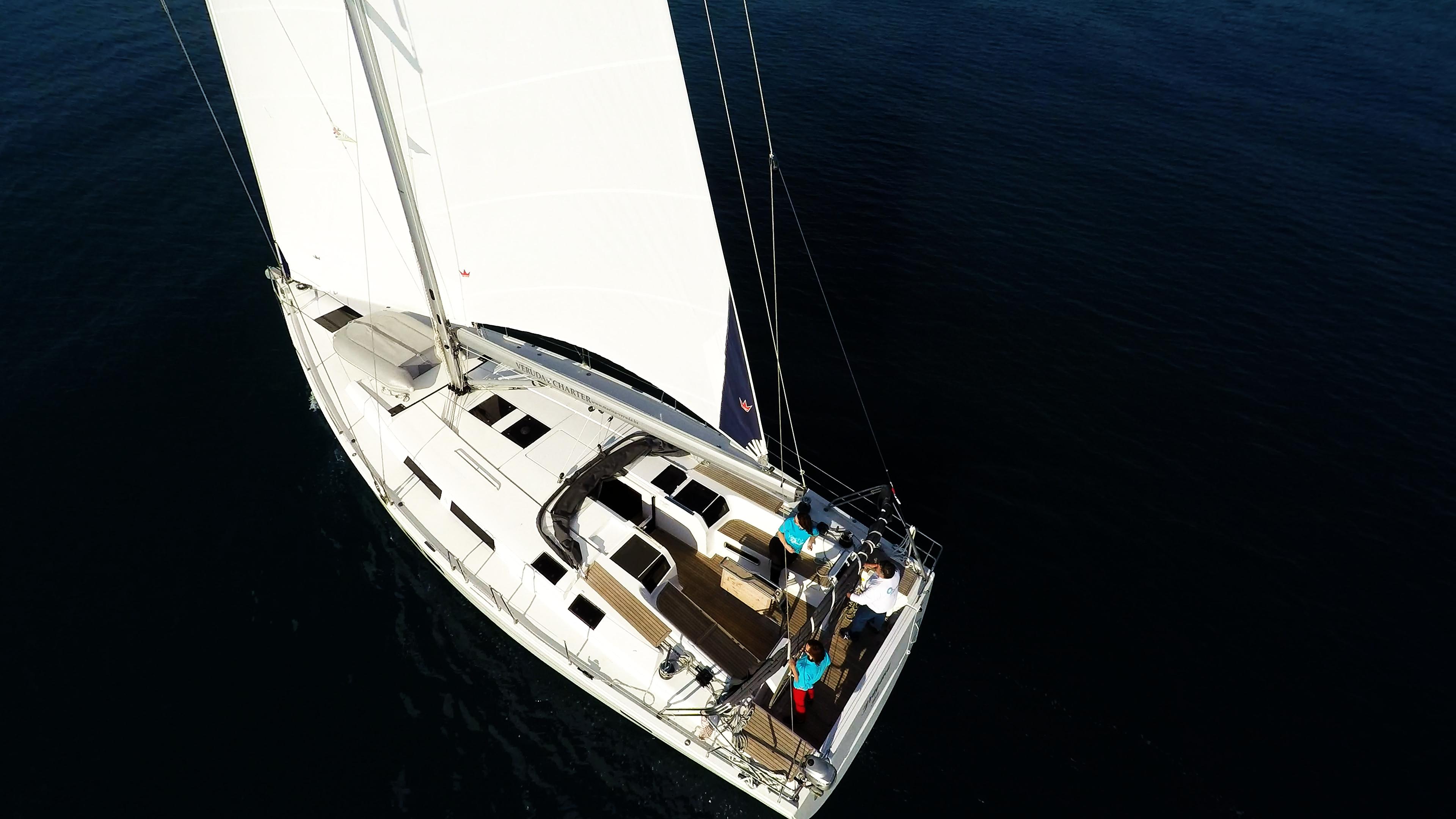 Segelyacht Hanse 505 Deck von oben Segelyacht